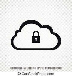 Cloud networking vector Cloud With Padlock icon. Modern flat design.