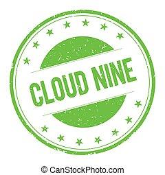 CLOUD-NINE stamp sign text word logo green.