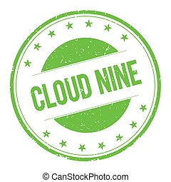 CLOUD-NINE stamp sign text word logo green.