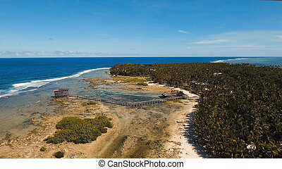 Cloud Nine surf point aerial view. Siargao, Philippines. Cloud 9.