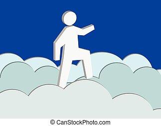 Cloud Nine (Vector) - A vector illustration of a man walking...