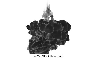 Cloud of Black Ink on white backgound underwater or smoke with alpha mask. Use for transitions, background, overlay and effects. 3d render VFX Ink background with very high detail Ver 19