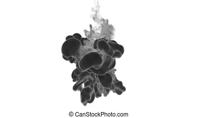Cloud of Black Ink on white backgound underwater or smoke with alpha mask. Use for transitions, background, overlay and effects. 3d render VFX Ink background with very high detail Ver 17