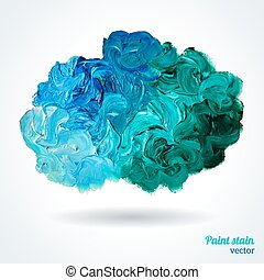Cloud of blue and green oil paints isolated on white....