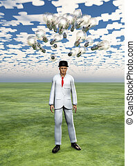 Cloud of bulbs hover over mans head with puzzle piece sky