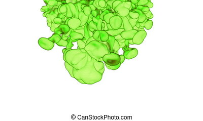 Cloud of green Ink underwater or smoke with alpha mask. Use for transitions, background, overlay and effects. 3d VFX Ink background with very high detail Ver 17