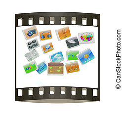 Cloud of media application Icons. The film strip