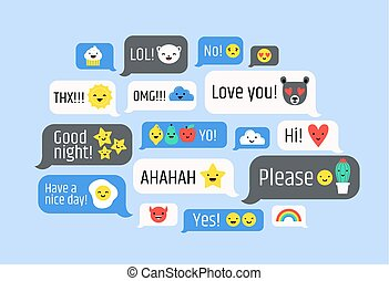 Cloud of messages with cute emoji. Speech bubbles with text and smileys. Ideograms or funny symbols to express different emotions in electronic chatting or messaging. Colorful vector illustration.