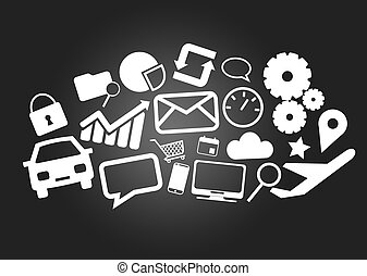 Cloud of multimedia icons isolated on a background - Internet concept