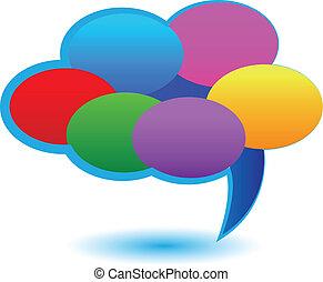 Cloud of speech bubbles logo