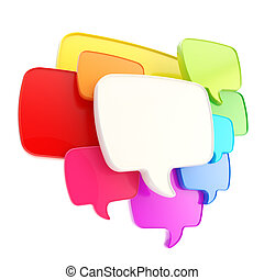 Cloud of speech text bubbles as copyspace plate isolated -...