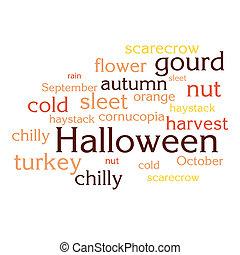 cloud of words list about autumn season