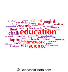 cloud of words list on the subject of school and education
