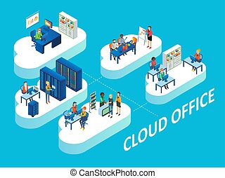 Cloud office concept vector isometric illustration