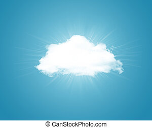 Cloud on blue background