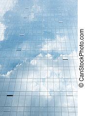 Cloud on blue sky in mirror