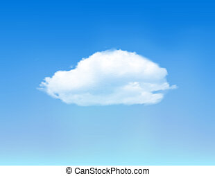 White cloud on blue sky. Vector background.