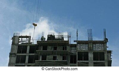 Cloud on construction site. Time lapse