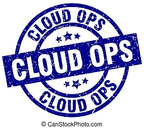 cloud ops blue round grunge stamp