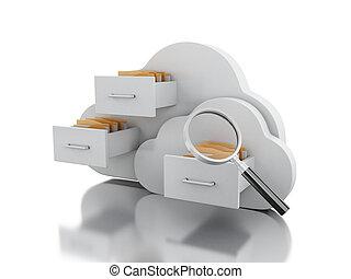 cloud., opslag, bestand, 3d