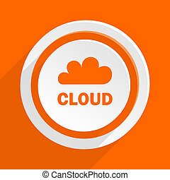 cloud orange flat design modern icon for web and mobile app