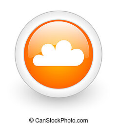 cloud orange glossy web icon on white background