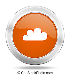 cloud orange icon, metallic design internet button, web and mobile app illustration