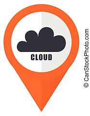 Cloud orange pointer vector icon in eps 10 isolated on white background.