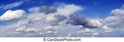 Cloud panorama - Panoramic view of fluffy sky
