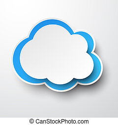 cloud., papel, white-blue