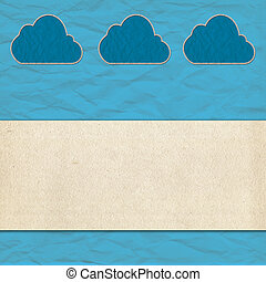 cloud paper craft and old paper