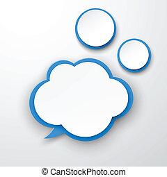 cloud., papier, white-blue