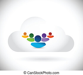 cloud people illustration design
