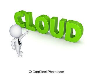 cloud., personne, 3d, mot, petit