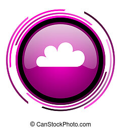 Cloud pink glossy web icon isolated on white background