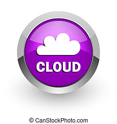 cloud pink glossy web icon