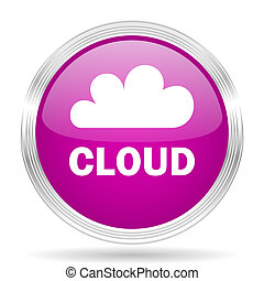 cloud pink modern web design glossy circle icon