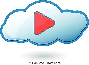 Cloud Play Icon Symbol Vector