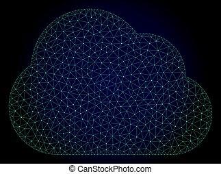 Cloud Polygonal Frame Vector Mesh Illustration