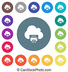 Cloud printing flat white icons on round color backgrounds