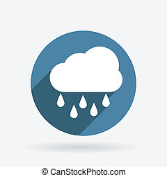 cloud rain. Circle blue icon