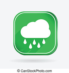 cloud rain.  Color square icon