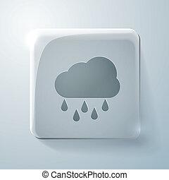 cloud rain. Glass square icon