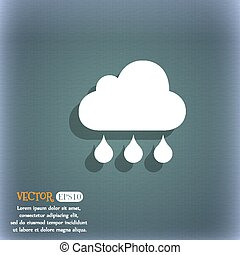 cloud rain icon. On the blue-green abstract background with shadow and space for your text. Vector
