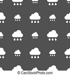 cloud rain icon sign. Seamless pattern on a gray background. Vector