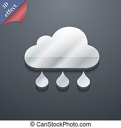 cloud rain icon symbol. 3D style. Trendy, modern design with space for your text Vector