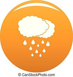 Cloud rain icon vector orange