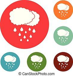 Cloud rain icons circle set vector