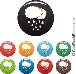 Cloud rain icons set color vector