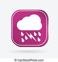 cloud rain lightning.  Color square icon